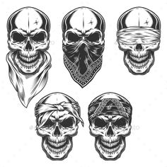 Buy Set of Skull in Bandanas by imogi on GraphicRiver. Set of skull in bandanas. Evil Skull Tattoo, Skull Tattoo Design, Skull Tattoos, Body Art Tattoos, Tattoo Drawings, Hand Tattoos, Key Tattoos, Cool Skull Drawings, Sleeve Tattoos