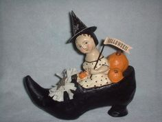 Vintage Halloween Collectible ~ Composition Witch in Shoe w/ Pumpkins