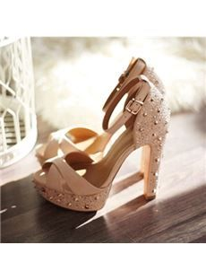498ef54947d New Arrival White Coopy Leather High Heel Sandals Beige Heels