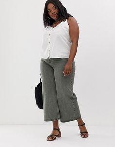 ASOS DESIGN Curve premium wide leg jeans in washed khaki   ASOS