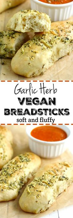 Vegan Garlic Herb Breadsticks with Marinara Sauce. These soft and fluffy breadsticks are easy to make in a hurry! They are just right with pasta or soup and salad. These vegan breadsticks are a family favorite! Vegan Foods, Vegan Dishes, Vegan Lunches, Aperitivos Vegan, Sauce Marinara, Whole Food Recipes, Cooking Recipes, Cooking Time, Cooking Videos