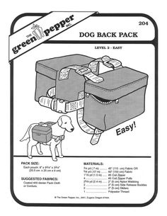 Sewing Pattern - Craft Pattern, Pet Pattern, Dog Coat Back Pack Green Pepper - GP 204 on Etsy, $6.00. I am SO making this for my dog... When I get it