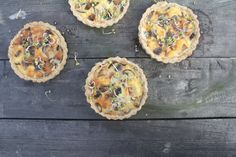 Mushroom and blue cheese quiche