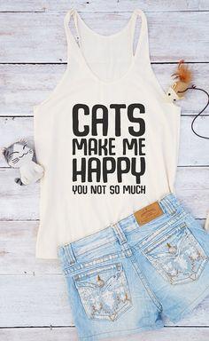 Katten maakt me gelukkig shirt kat shirt offerte top tumblr grappige top grafisch shirt fashion shirt zomer shirt voor tiener giften voor vrouwen grappige shirt