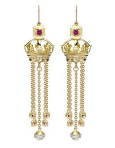 Theo Fennel Chandelier Earrings, set with rubies and pearls