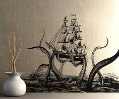 Wether that is true or not, you can get one for your bathroom/bedroom. This giant octopus wall decal can be applied in any room of your home. Different sizes are available. Email us an. Octopus Design, Octopus Art, Octopus Decor, Red Octopus, Art Mural, Wall Murals, Wall Decal Sticker, Wall Stickers, Kraken