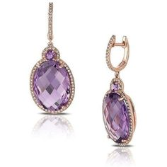 Marco Moore -  14K Rose Gold Oval Cut Amethyst and Diamond Dangle Earrings | Fink's Jewelers  •$2,095.00