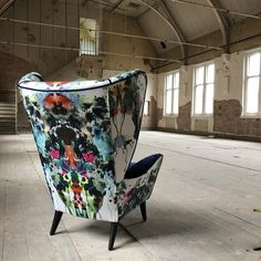 Another cracking bit of upholstery by featuring our Kaleido Splatt Panel Fabric . Funky Furniture, Art Furniture, Painted Furniture, Furniture Design, Furniture Upholstery, Upholstered Chairs, Wingback Chair, Desk Chair, Swivel Chair