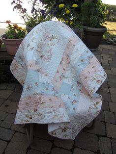 Shabby Chic Soft Pastel Log Cabin Quilt. $150.00, via Etsy.