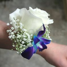 Corsage with Blue Orchid and White Rose - W Flowers Ottawa Prom Flowers, Bridal Flowers, Flower Bouquet Wedding, Bride Bouquets, Floral Bouquets, Orchid Boutonniere, Corsage And Boutonniere, Boutonnieres, Blue Corsage