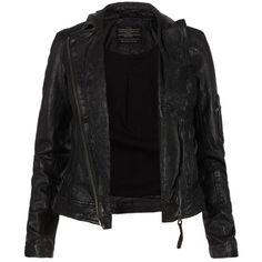 Marsden Leather Jacket (4 160 SEK) ❤ liked on Polyvore featuring outerwear, jackets, coats, tops, leather jackets, allsaints, bomber jacket, pocket jacket, real leather jacket and flight jacket