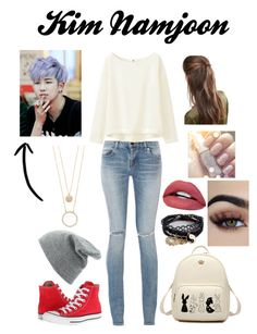 Kim Namjoon (Rap Monster) Look BTS by kimchidohope on Polyvore featuring moda, Uniqlo, Yves Saint Laurent, Converse, ASOS, Kate Spade, DesignB London, Charlotte Russe and bts