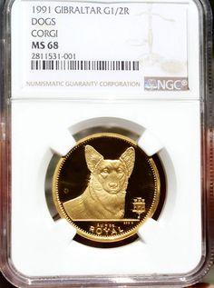 1991 Gibraltar Gold Corgi Dog Coin NGC MS68 Superb Gem BU Pobjoy Mint 1/2 Ounce