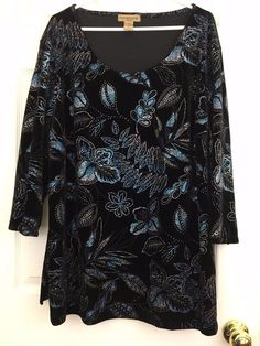 Notations Tunic Velvet Glitter Floral Leaf Design Black Size 3X Special Occasion #Notations #Tunic #Eveningformalspecialoccasion