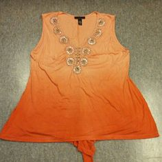 Orange Beaded High Low Tank Plus Size 2X Orange? Plus Size 2X? Tank? Beaded? V Neck? High low? Sleeveless? Light weight material? Gold beaded embellishments? Measurements? Armpit to armpit 23in? From smoke FREE pet FREE home!? Excellent condition Tops Tank Tops
