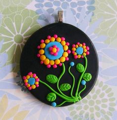 Fimo Polymer Clay Necklace Medallion - flowers in the night garden