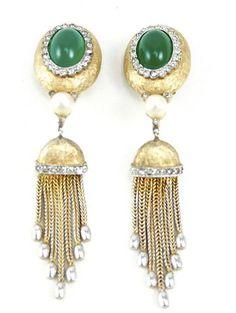 House of Lavande Jomaz Emerald Tassel Earrings