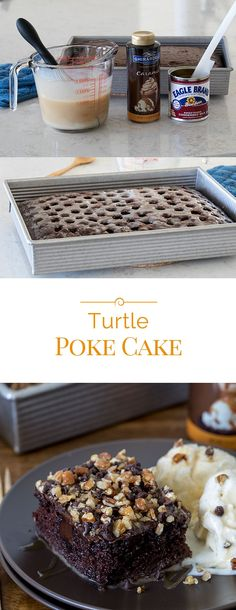 This decadent Turtle Poke Cake is a poke cake version of a Turtle candy.  A chocolate poke cake filled with caramel and topped with chocolate frosting, chocolate chips, chopped pecans and more caramel. . . #pokecake #turtlecandy #cake