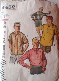 Men's Vintage Sewing Pattern  Men's Sport Shirts  by Shelleyville, $6.00
