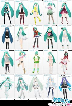 Many of Miku's various fashion outfits. Vocaloid Fashion