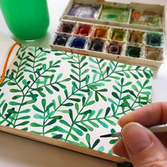 Painting a pattern of green leaves in my book for a fresh start to this week…