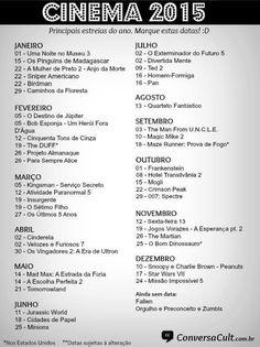 Confira a listagem completa das datas de estreias dos filmes de 2015. Teremos Star Wars VII, Vingadores 2 e muito mais!