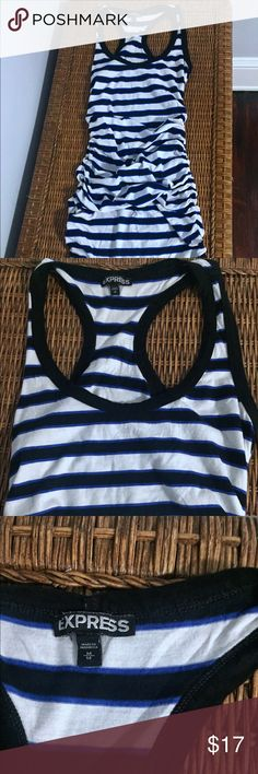 Black, blue, & white striped midi dress w/ruching Black and white striped midi dress with blue accent and rushing at the midsection. Lightweight, cotton, perfect for summer nights. Gently worn. Express Dresses Midi