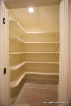 under stairs closet and shelving. Could apply to my kitchen space for a pantry.