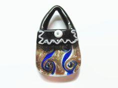 Lampwork Glass Purse Pendant, Ribbon Necklace, Jewelry Supply, Sun Catcher Pendant, Handbag Charm, Purse Necklace, Glass Purse - pinned by pin4etsy.com