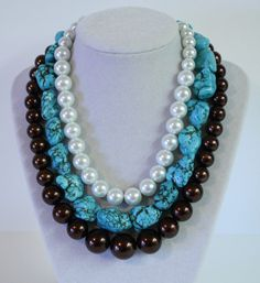 Chunky Turquoise and Brown 3 Strand Necklace