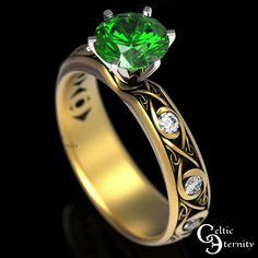 Celtic Gold Engagement Ring Emerald Ring with Accent Stones | Etsy Celtic Knot Ring, Celtic Rings, Mens Celtic Wedding Bands, Celtic Engagement Rings, Thing 1, Wedding Accessories, Ring Designs, Green Tuxedo, Emerald