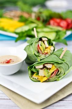 Collard Wraps and Satay Dipping Sauce | by Sonia! The Healthy Foodie. The satay is vegan and dairy free.