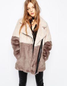 Image 1 ofUrbancode Faux Fur Colour Block Biker Coat