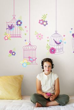 Super cute kids decor idea thast would make a great summer room makeover project! Chirping The Day Away Removable Wall Decals - WallPops for Kids Wall Art Deco Stickers, Wall Stickers, Art Wall Kids, Wall Art, Headboard Decal, Decorating With Sticks, Dc Fix, Do It Yourself Design, Ideas Hogar