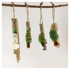 Glass Christmas Ornaments, Christmas Crafts, Christmas Decorations, Sea Glass Art, Sea Glass Jewelry, Beach Themed Crafts, Driftwood Art, Pebble Art, Handmade Sterling Silver