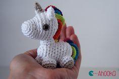 Tiny unicorn amigurumi by Ahooka.Patrón.