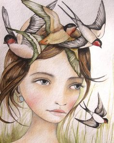 She liked swallows art print 9 x11 inches by PrintIllustrations, $24.00