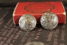 8pcs Ornate Scroll Flower Silver Shank Buttons by montagesupply