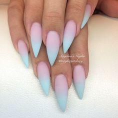 Pink & blue gradient nail art, Stiletto nails @KortenStEiN