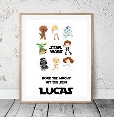 "Namensbild ""Star Wars"" Kinderzimmer Kunstdruck"