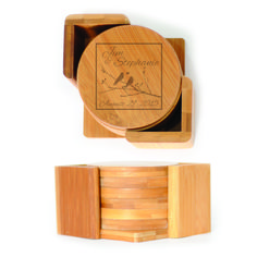 Round Wood Coasters (6) - Birds on Brach inside a box personalized with names and dates in script