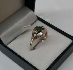 Goldring 585 Weißgold Smaragd Diamant alt GR192 von Schmuckbaron