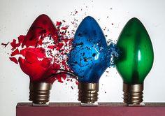 Earlier Christmas in July High Speed Photography, Smoke Photography, Christmas In July, Christmas Lights, High Shutter Speed, Light Bulb Art, Fill Light, A Level Art, School Art Projects