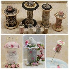 To scrap or not to scrap, that's the question. Wooden Spool Crafts, Wooden Spools, Fun Crafts, Diy And Crafts, Paper Crafts, Recycled Crafts, Vintage Sewing Notions, Shabby Chic Crafts, Sewing Rooms