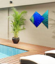 Big Blue Fish - Tropical Blue Metal Wall Art Accent by Jon Allen - 44 Metal Wall Sculpture, Outdoor Sculpture, Wall Sculptures, Metal Artwork, Metal Wall Art, Mid Century Wall Art, Outdoor Wall Art, Metal Fish, Nails And Screws
