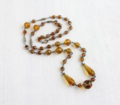 Vintage Amber Glass Beaded Art Deco Necklace - 1920s 1930s Single Long Strand Silver Tone Costume Jewelry / Flapper Crystals