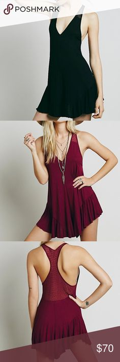 FREE PEOPLE Heritage Playsuit in BLACK Semi-sheer flowy and swingy soft romper featuring ruffle detailing on the hem and a V-neckline. Sheer floral mesh detailing on the racerback. Only worn once! This is in BLACK, not maroon. Free People Other