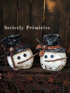 Primitive Snowmen Heads handmade snowmen  by StrictlyPrimitive