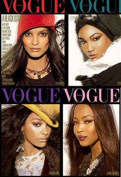 Vogue Italia Black Issue..probably the highest selling issue ever, but there's still much prejudice in the industry..Beautifully done though