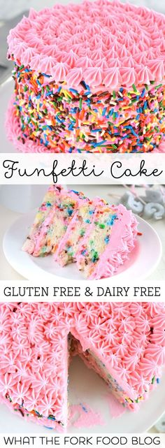 This gluten free funfetti cake is perfect for birthday celebrations. The gluten free and dairy free white cake is light and airy and filled with colorful sprinkles. Finish it off with dairy free frosting and extra sprinkles. Patisserie Sans Gluten, Dessert Sans Gluten, Gluten Free Sweets, Gluten Free Cakes, Gluten Free Baking, Dairy Free Recipes, Dessert Recipes, Cake Recipes, Dinner Recipes